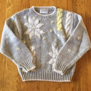 VINTAGE Grey Cable Knit Chunky Grandma Sweater M
